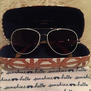 Stella & Dot White & Gold Aviator Sunglasses